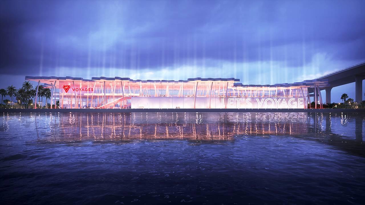 Virgin Voyages terminal facade at night rendering
