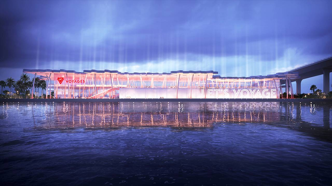 Virgin Voyages terminal facade at night rendering