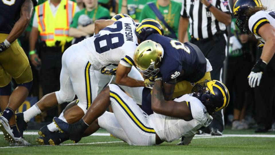 Brandon Watson tackle Michigan football vs Notre Dame 2018