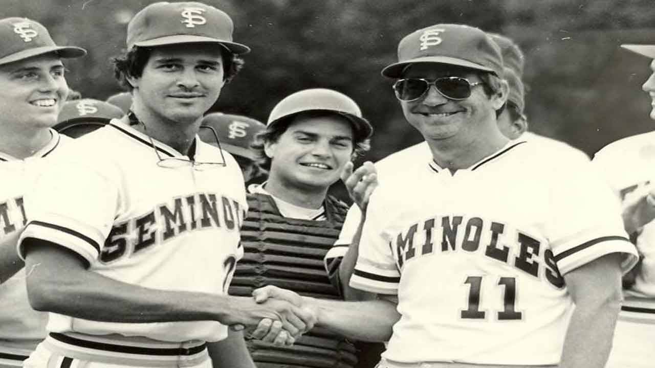 Florida State Seminoles outfielder Mike Fuentes and baseball coach Mike Martin circa early 1980s
