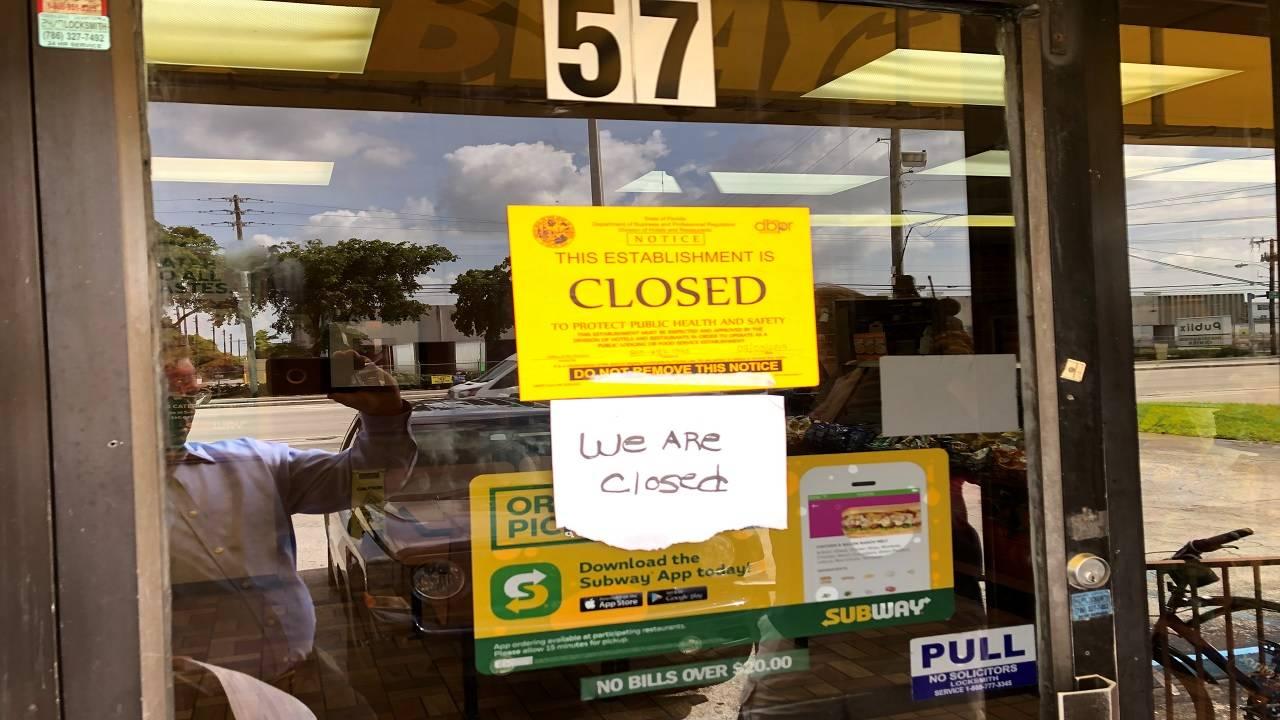 Subway closed sign