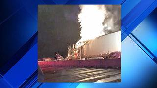 Driver injured in fiery hit-and-run crash of 2 semis in Starke
