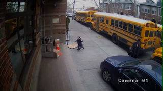 Car jumps NYC sidewalk to pass school buses
