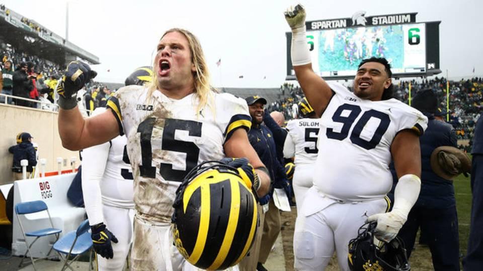 Chase Winovich Bryan Mone Michigan football vs Michigan State 2018