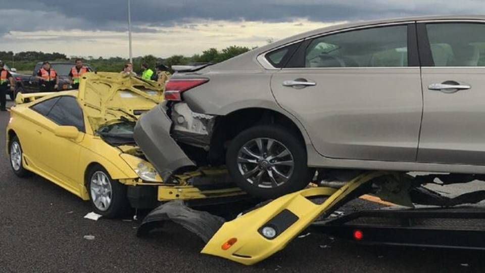 I-95 Rockledge car wedged under another vehicle