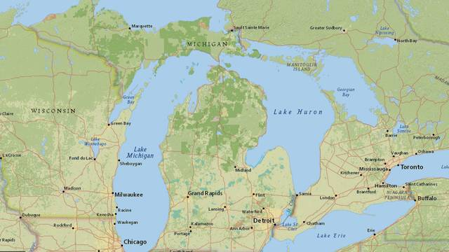 map shows michigan forest roads authorized for off road