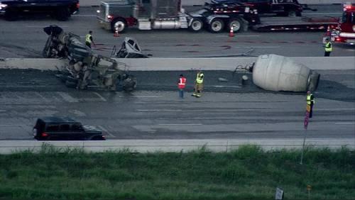 Cement truck overturns on Beltway 8 at Hillcroft