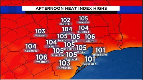 Hot, humid day ahead: 'Feels like' temps to top out around 105 degrees for most of Houston area