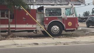 Fire truck for sale on the side of Miami-Dade road