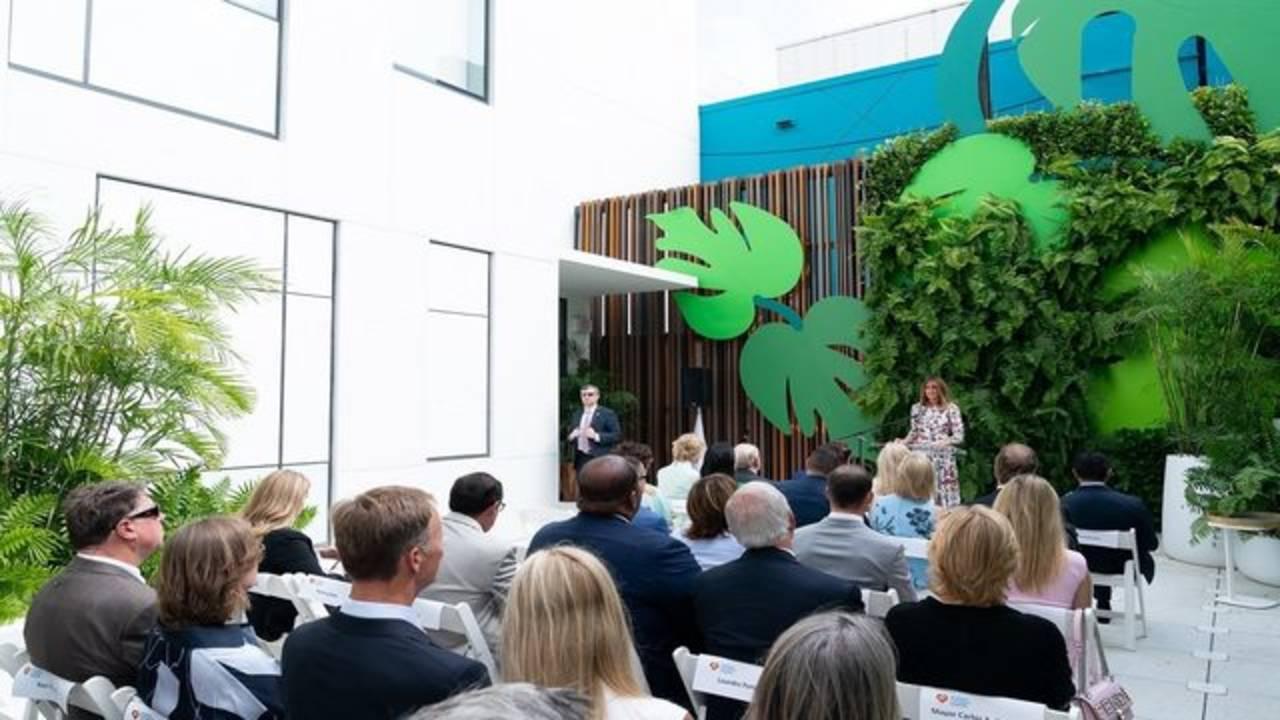 Melania Trump speaking at Nicklaus Children's Hospital