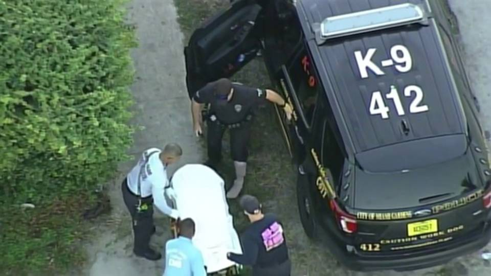 Sky 10 view of Miami Gardens police officer injured by stolen car