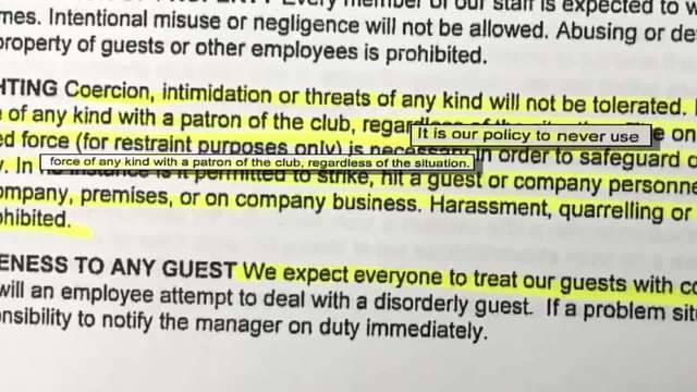 Vegas Cabaret policy against violence