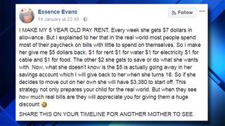 Mom's post about charging 5-year-old daughter rent goes viral