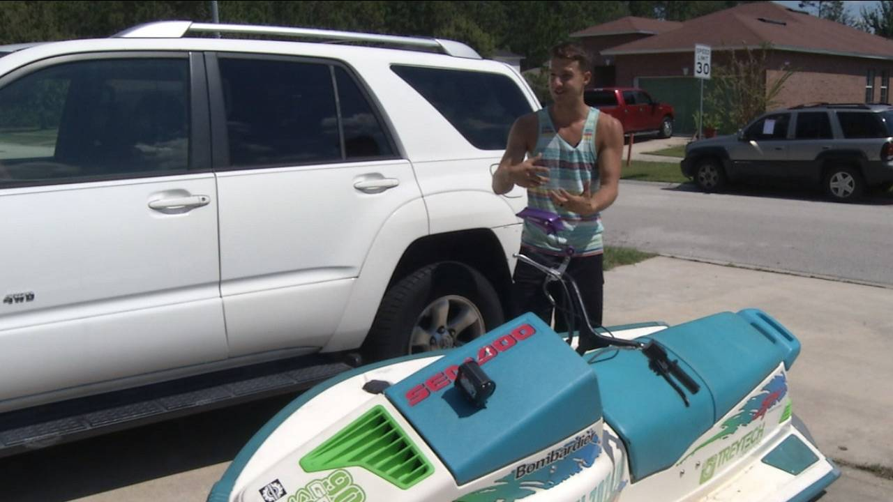 Trey Yarbrough with his jet ski scooter