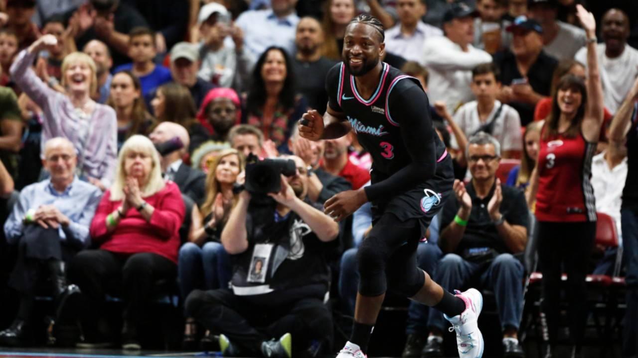 Miami Heat guard Dwyane Wade celebrates vs Golden State Warriors