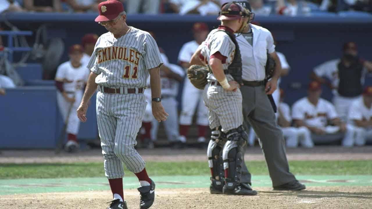 Florida State Seminoles baseball coach Mike Martin walks off field during 1995 College World Series
