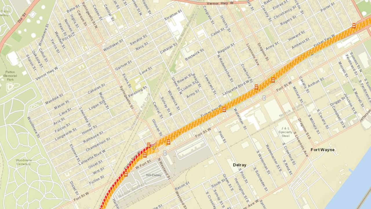 I 75 Traffic Map.Traffic Sb I 75 Closure Extending To Livernois In Detroit