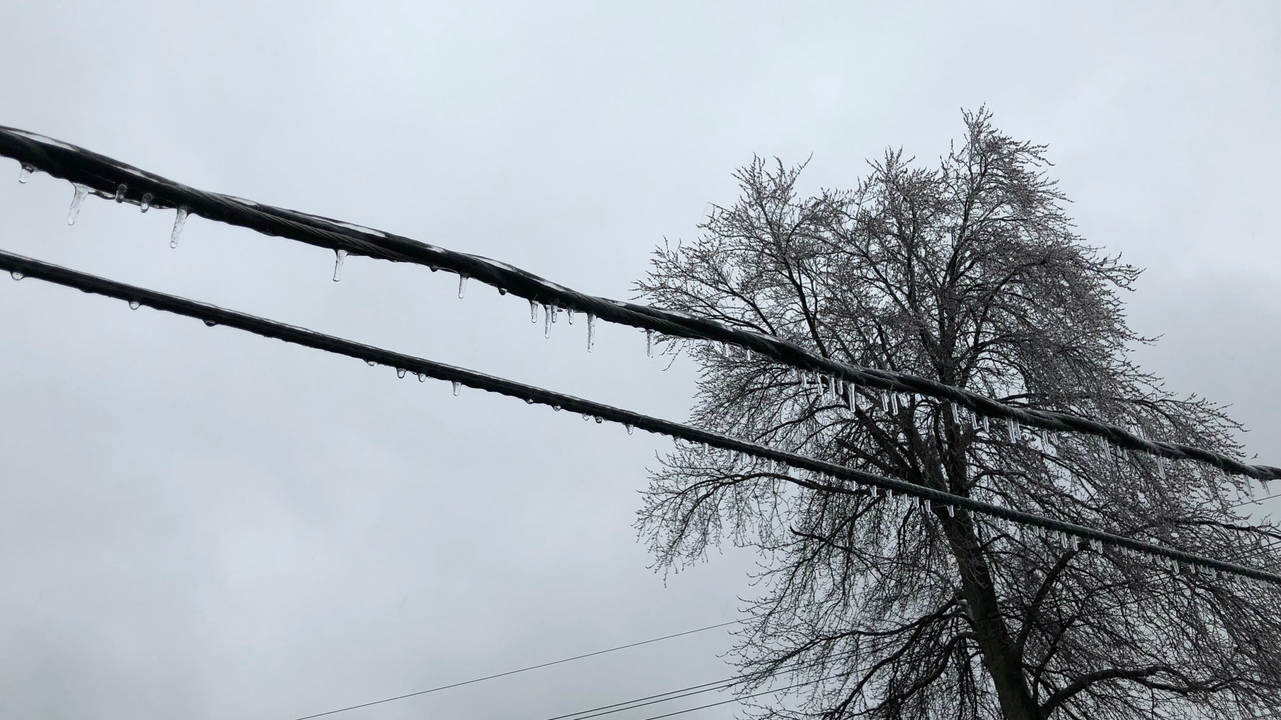 Ice on power lines Livonia