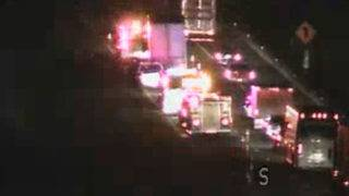 Tractor-trailer accident closes I-81 southbound left lane, causes 2-mile backup