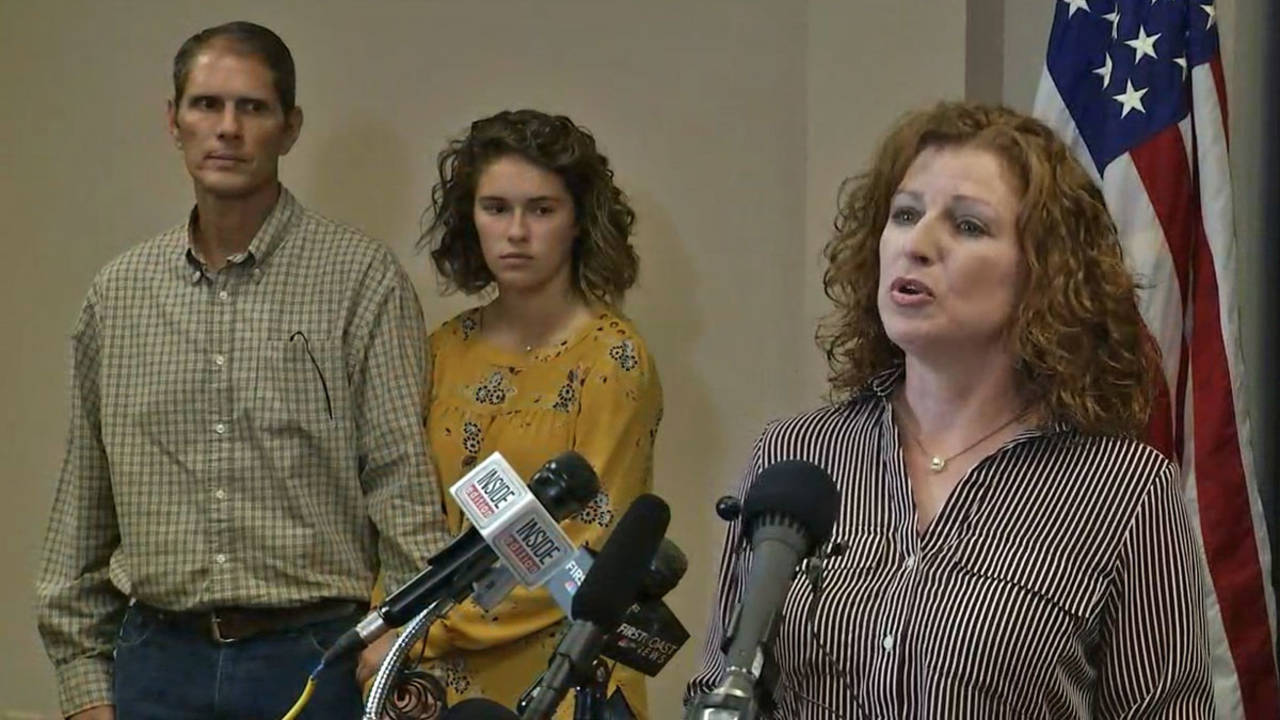 Scarlet Frisina speaks at news conference about Caitlyn's return