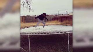 WATCH: SA man has fun on icy trampoline