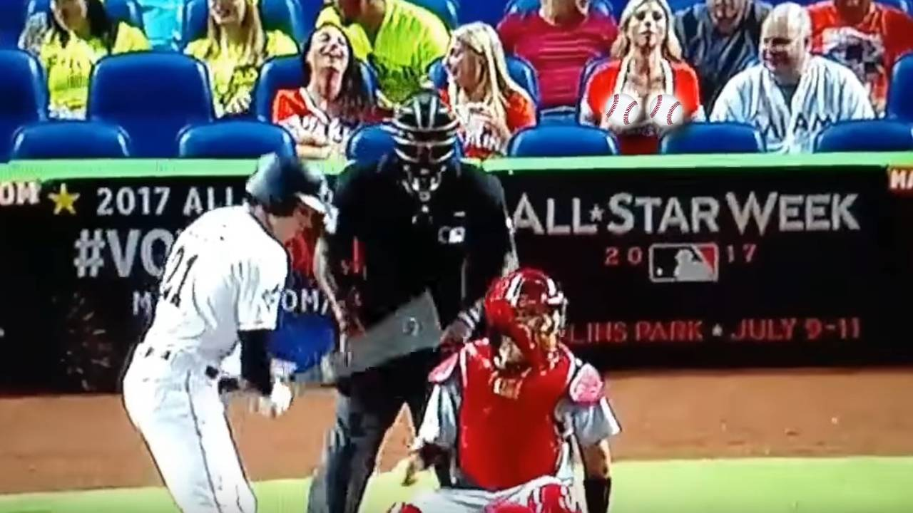 Marlins Fan Flashes Cardinals Pitcher During Game
