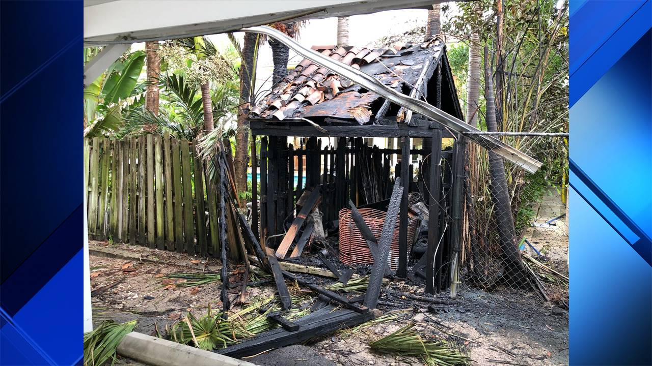 Scorched shed in Fort Lauderdale