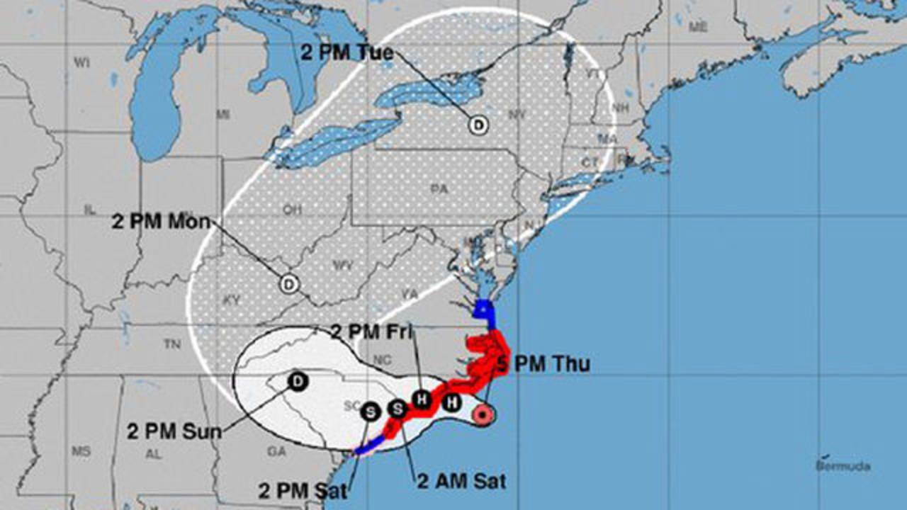 Hurricane Florence 6 pm track