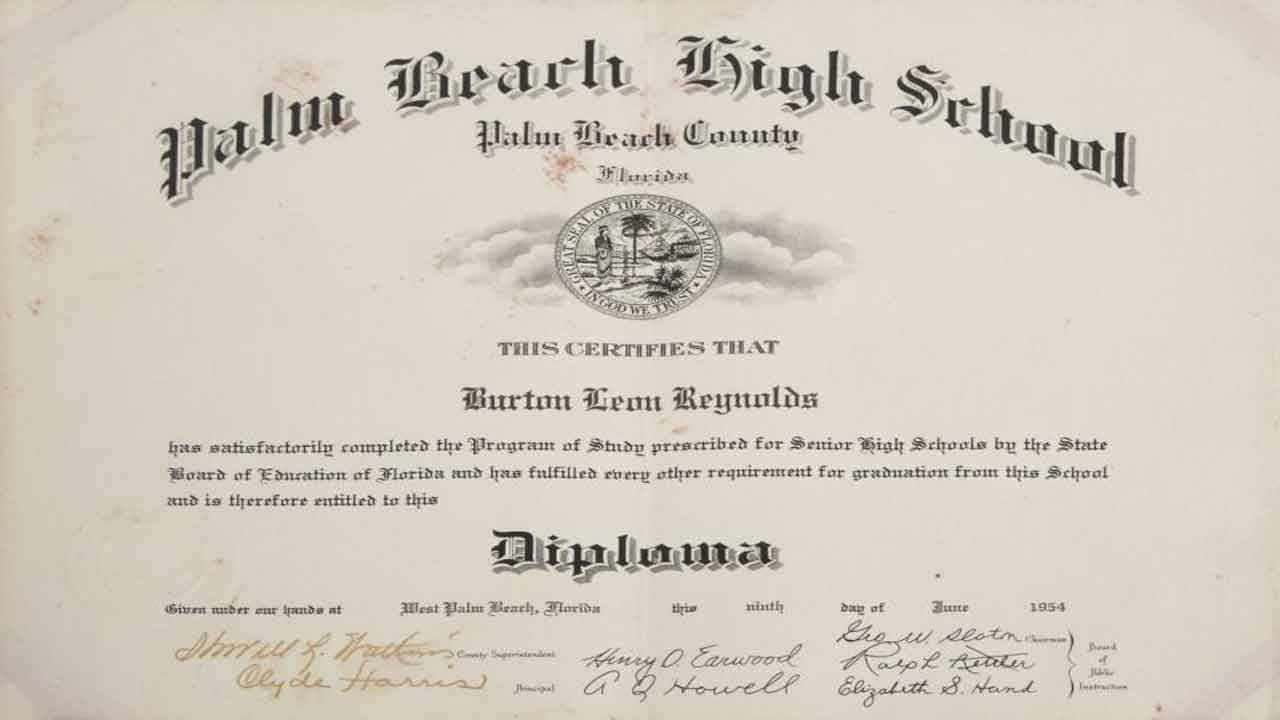 Burt Reynolds Palm Beach High School diploma