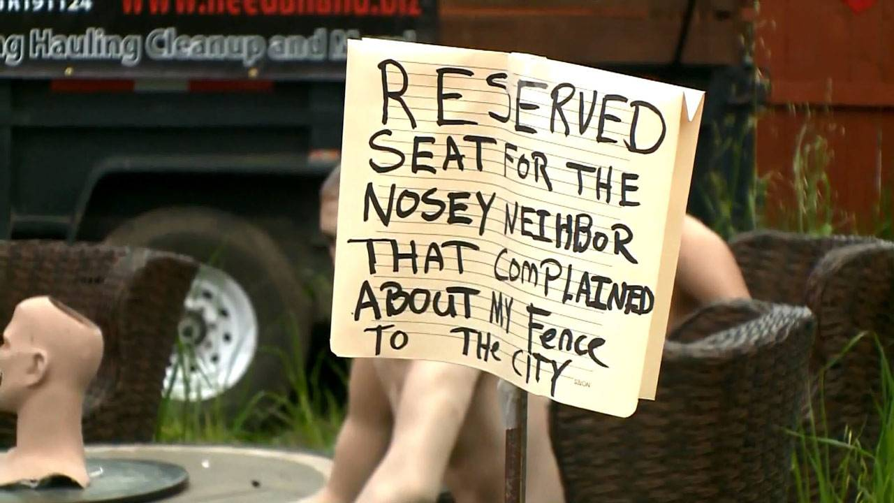 Man uses nude mannequins to send message to 'nosey' neighbor