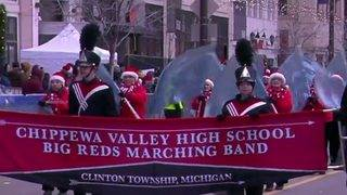 Big Reds Marching Band's performance at Thanksgiving parade watched by…