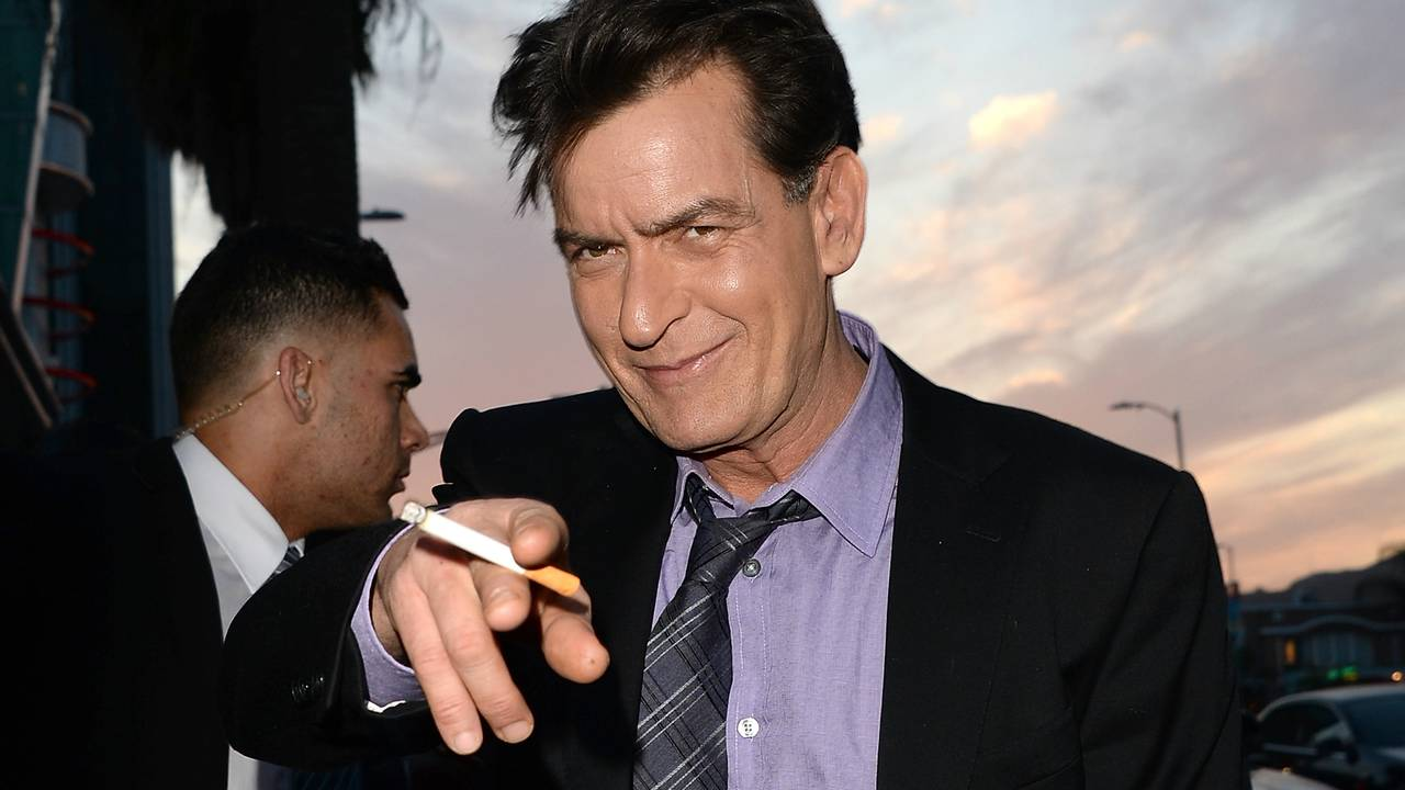 Charlie Sheen pointing