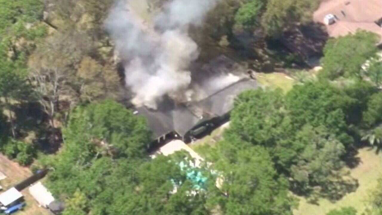 Aerial of Lone Wolf Trail house fire