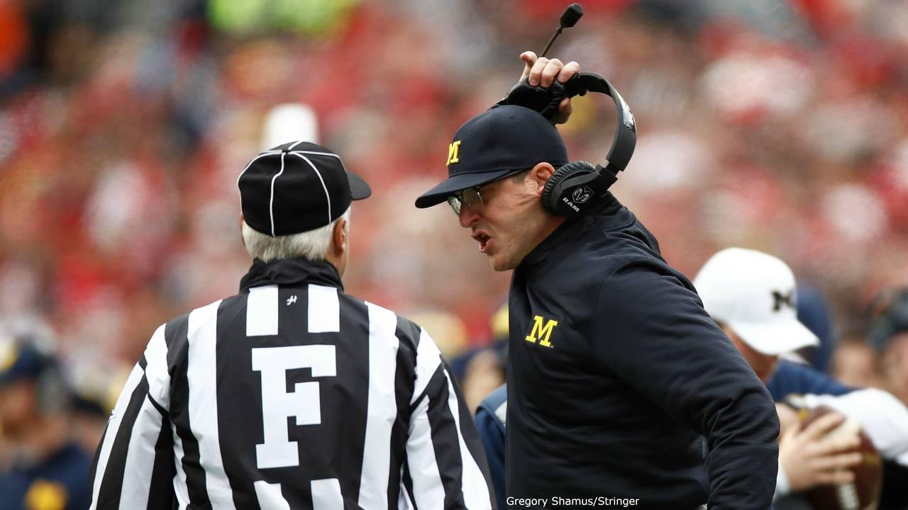 Jim Harbaugh throws headset Michigan football vs Ohio State 2016