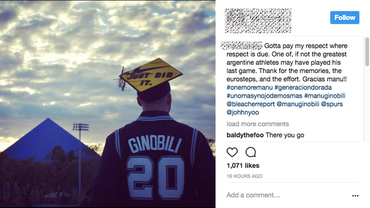 03bfa3725 Viral video shows college grad shouting  Ginobili  after...