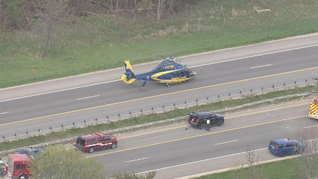 US 23 Northfield Township semi truck crash University of Michigan Survival Flight