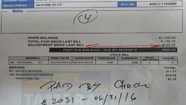 Water bill adjusted for Tamarac resident