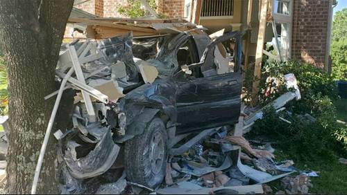 Katy family displaced after truck crashes through home Thursday morning