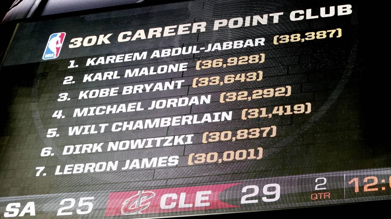 scoreboard showing LeBron James, 30,000 point club59299208