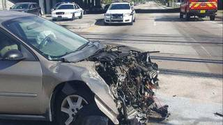Car smashes into train in Fort Lauderdale