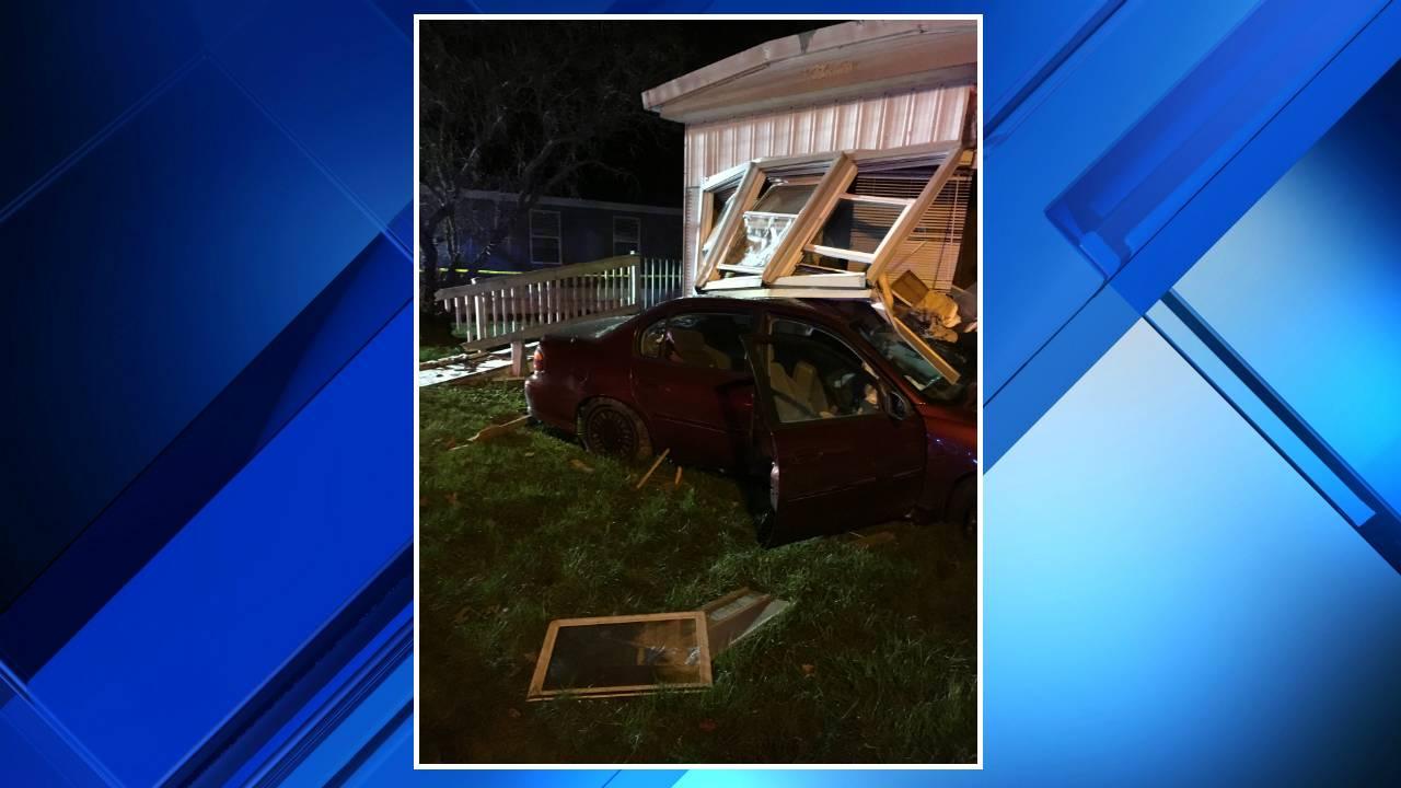 Suspected drunken driver hits patrol car, crashes into