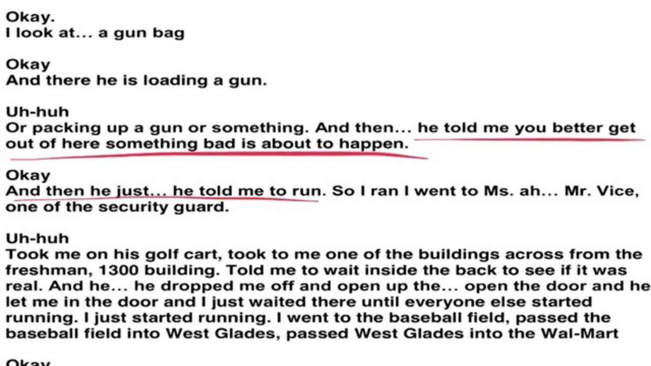 Transcript of student's statement after running into Cruz
