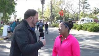 News4Jax reporter Crystal Moyer runs in the Gate River Run