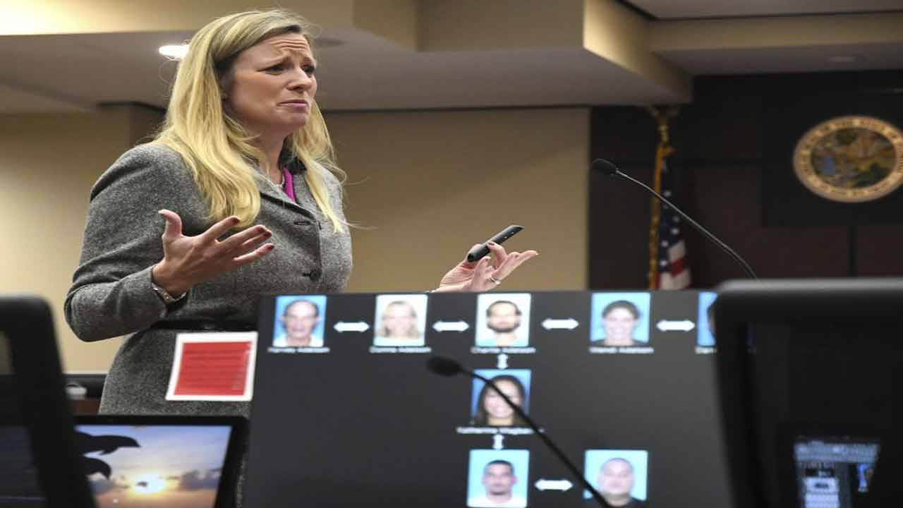 Georgia Cappleman closing arguments with chart showing connection to Daniel Markel's murder in foreground