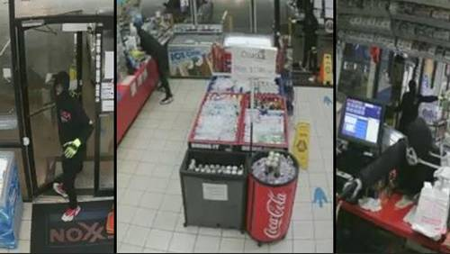 Authorities release photos of men involved in gas station robbery that killed clerk