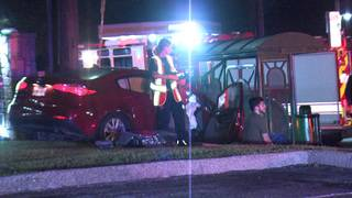 Police: 1 taken to hospital after sedan crashes into NE Side bus stop