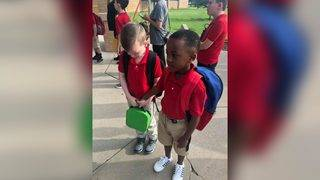 Boy, 8, consoles, befriends classmate with autism on first day of school