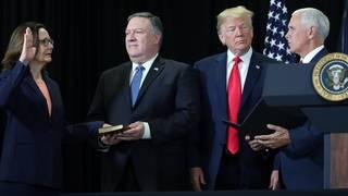 Trump touts Haspel confirmation at CIA visit
