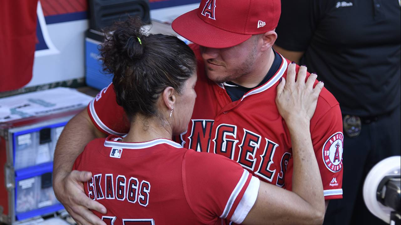 tyler skaggs mother and mike trout 7-12-19