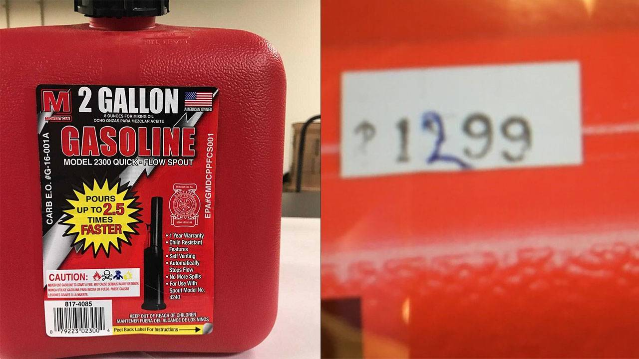 Photo of gas can found in Derion Vence's trunk after Maleah reported missing